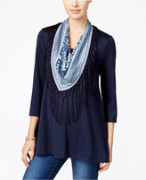 Style&Co. Style & Co. Petite Top with Printed Scarf, Only at Macy's