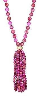 Nest Women's 22K Yellow Goldplated & Magenta Agate Tassel Necklace