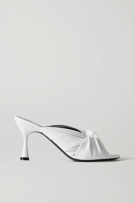Balenciaga Drapy Knotted Leather Mules - White