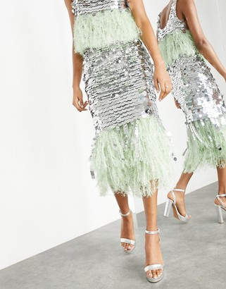 ASOS EDITION paillette sequin midi skirt with feather hem in silver and green