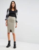 Missguided High Waisted Denim Pencil Skirt