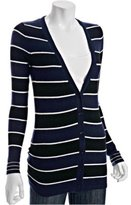 navy stripe cashmere boyfriend cardigan