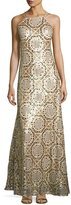 Nicole Miller New York Open-Back Geometric-Print Gown, Gold