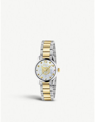 Gucci YA1265012 G-Timeless yellow-gold and mother of pearl watch