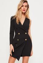 Missguided Petite Black One Sleeve Tuxedo Dress