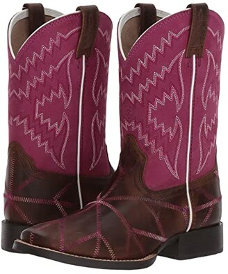 Ariat Twisted Tycoon (Toddler/Little Kid/Big Kid) (Distressed Brown/Plum Pink) Cowboy Boots