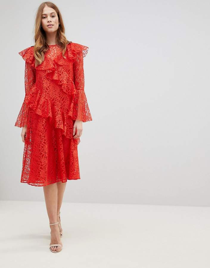 Asos Design Lace Midi Dress with Ruffles and Fluted Sleeves
