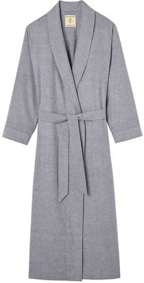 British Boxers Women's Ash Grey Herringbone Brushed Cotton Dressing Gown