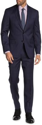 Ted Baker Jarrow Navy Plaid Two Button Notch Lapel Wool Trim Fit Suit