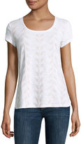 Liz Claiborne Short Sleeve Tee Round Hem Scoop Neck T-Shirt
