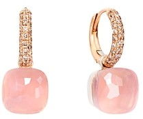 Pomellato 18K White Gold & 18K Rose Gold Nudo Rose Quartz, Chalcedony and Brown Diamond Dangle Hoop Earrings