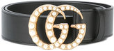 Gucci pearl logo belt - women - Calf Leather - 75