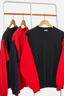Urban Renewal Vintage Remade From Vintage Black & Red Contrast Sleeve Sweatshirt - Black M/L at Urban Outfitters
