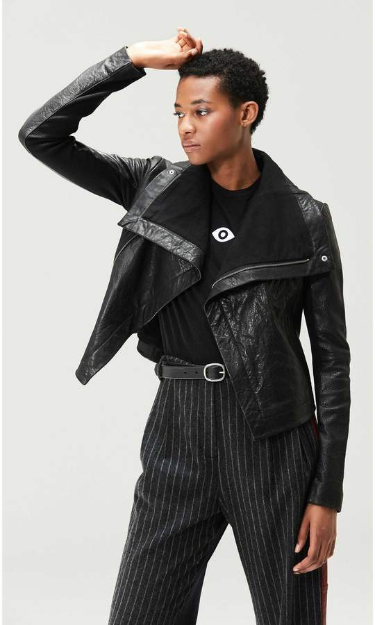 Veda Max Classic Leather Jacket Black