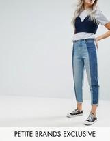 Urban Bliss Petite Deconstructed Straight Leg Tonal Paneled Jeans