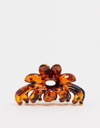 ASOS DESIGN hair clip claw in tortoiseshell flower design