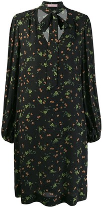 Kristina Ti neck-tie floral dress