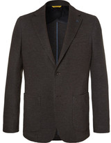 Canali Brown Unstructured Wool And Cotton-blend Blazer - Brown