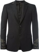 Alexander McQueen embroidered pinstriped blazer - men - Cotton/Viscose/Wool - 46
