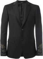 Alexander McQueen embroidered pinstriped blazer - men - Cotton/Wool/Viscose - 46