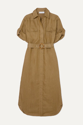 Zimmermann Super Eight Belted Linen Midi Dress - Army green