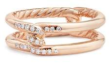 David Yurman Continuance Knot Ring with Diamonds in 18K Rose Gold