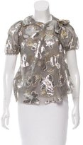 David Szeto Silk Floral Brocade Blouse