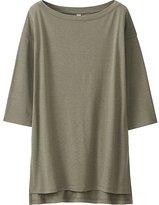 Uniqlo Women Drape 3/4 Sleeve Long T-Shirt