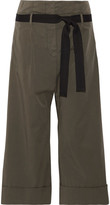 Brunello Cucinelli Belted Stretch-cotton Wide-leg Pants - Army green