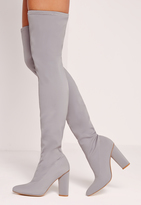 Missguided Pointed Toe Neoprene Over The Knee Boot Grey