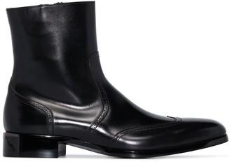 Santoni Zip Leather Ankle Boots