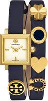 Tory Burch Women's Swiss Saucy Navy Leather Double Wrap Strap Watch 25mm TB5350