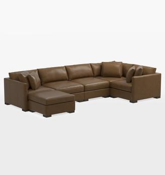 Rejuvenation Wrenton Classic 6-Piece Chaise Leather Sectional Sofa