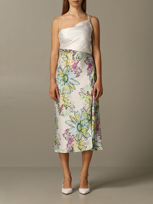 Patrizia Pepe Long Dress In Floral Patterned Satin