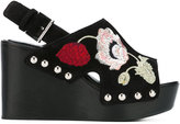 Alexander McQueen embroidered wedge sandals - women - Leather/Suede/rubber - 36