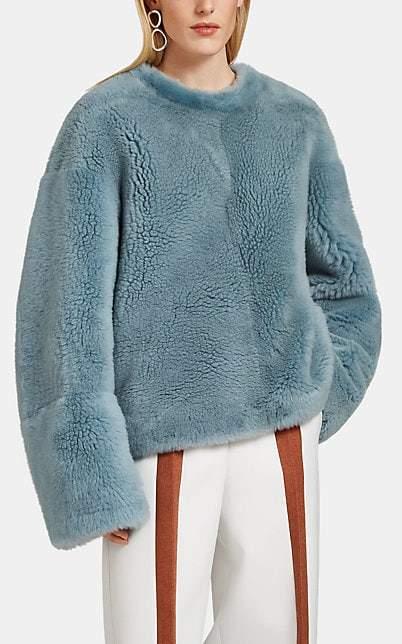 Jil Sander Women's Fur Crewneck Sweatshirt - Blue