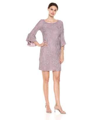 Nine West Women's Lace 3/4 Peplum Sleeve T-Shirt Dress