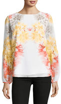 Calvin Klein Placed Floral Peasant Top