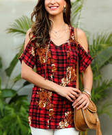 Reborn Collection Women's Tunics Red - Red & Black Plaid Floral Cold-Shoulder Top - Women & Plus