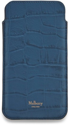 Mulberry iPhone Cover and Card Slip Pale Navy Matte Croc