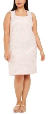 Kasper Plus Size Floral Metallic Jacquard Dress