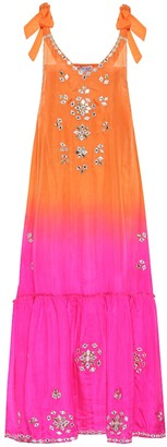 Juliet Dunn Embellished silk maxi dress