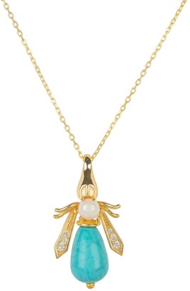 Latelita Turquoise & Pearl Gemstone Bee Pendant Necklace Gold