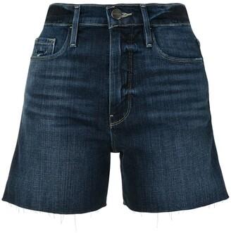 Frame Stonewashed Denim Shorts