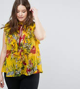 Asos Sleeveless Blouse With Ruffle In Floral Print