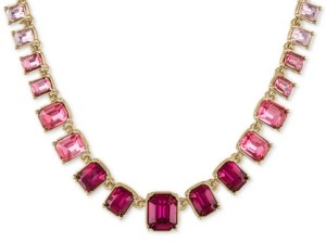 "Rachel Roy Gold-Tone Pink Ombre Stone Collar Necklace, 15-3/4"" + 2"" extender"