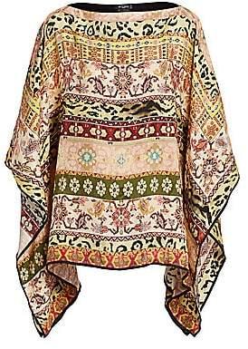 Etro Women's Berry Printed Silk Poncho