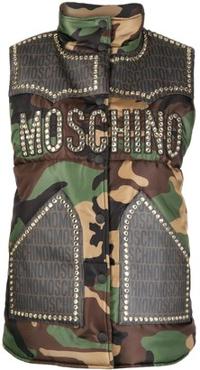 Moschino Studded Camouflage-Print Gilet