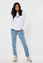 Missguided Blue Over Bump Stretch Maternity Mom Jeans
