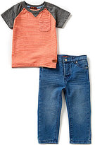 7 For All Mankind Baby Boys 12-24 Months Striped Raglan Tee & Standard Denim Jeans Set